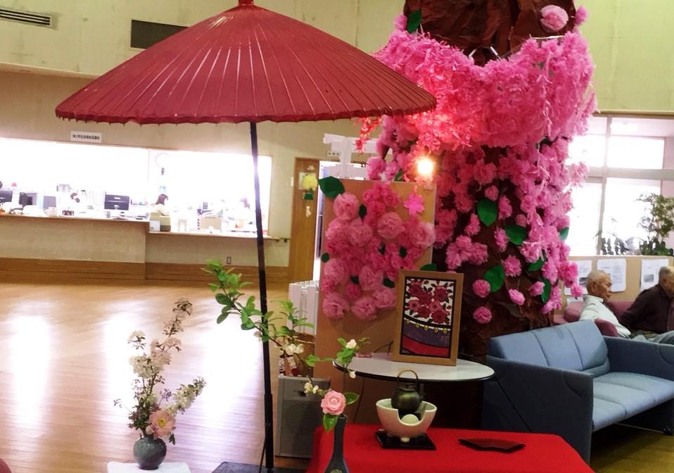 館内の大木に花が咲き それなら、お茶でも立てようか (4月12日)